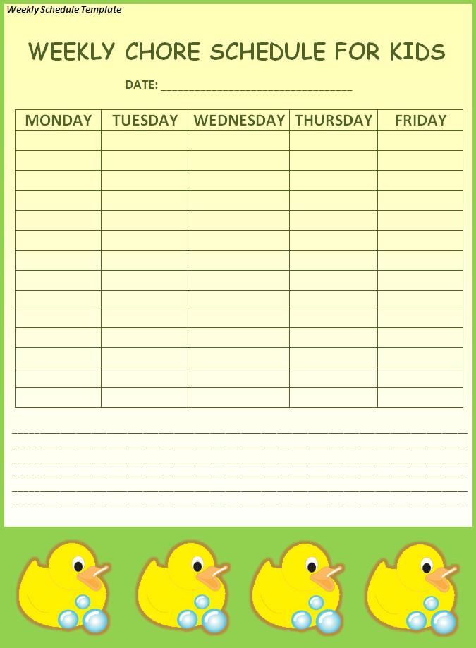 Weekly Schedule Template | Free Word Templates