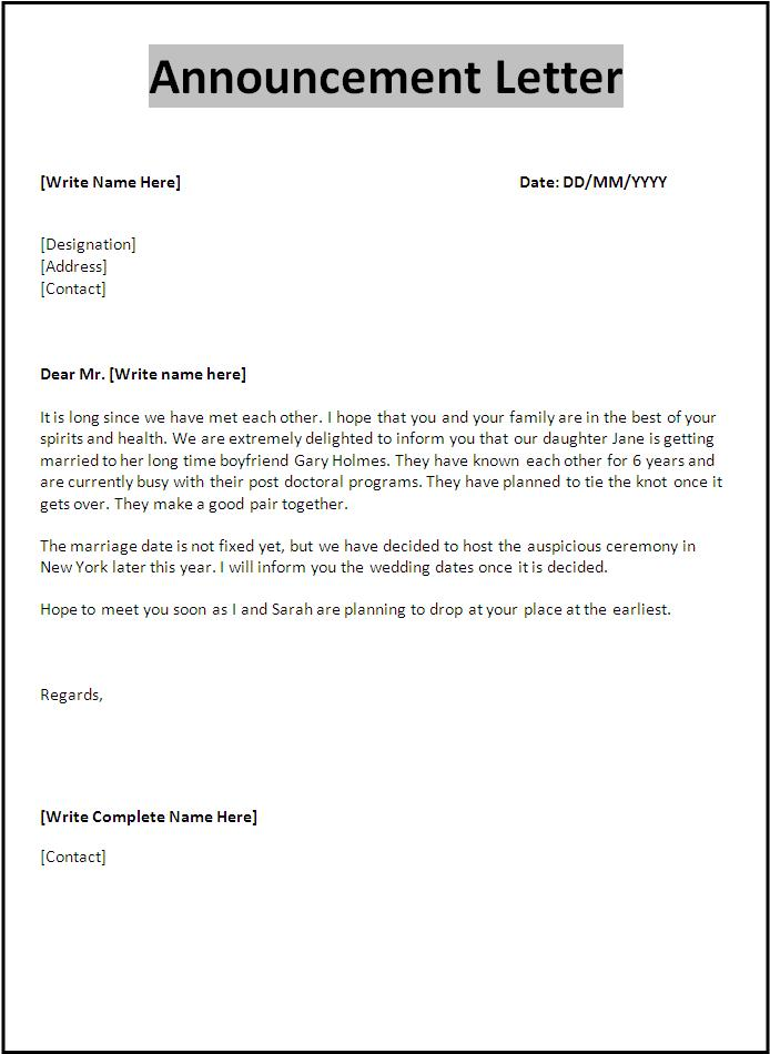 Sample Announcement Letter Free Word Templates