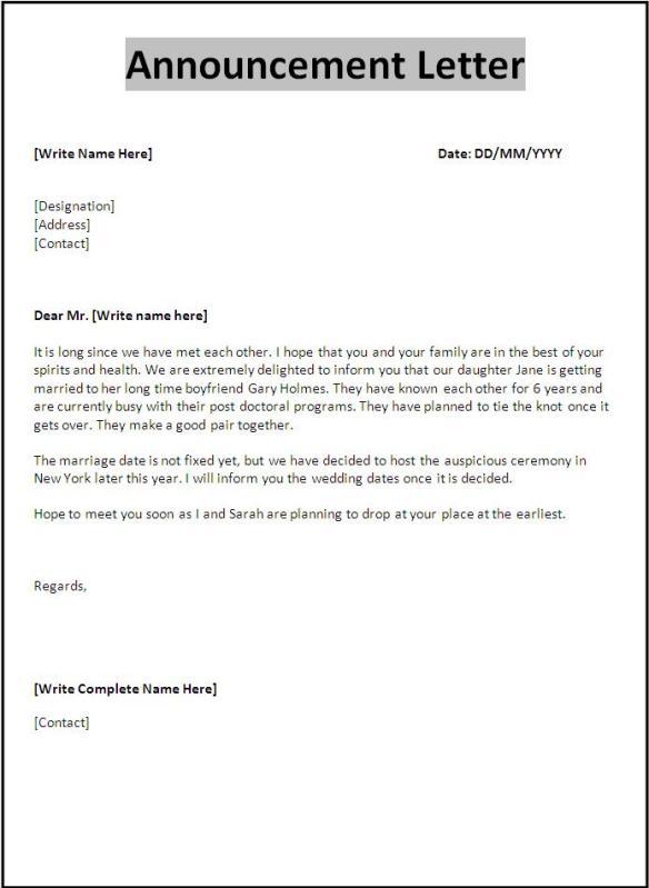 Announcement Letter Template