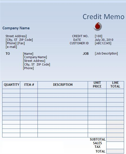 Credit Memo Template  Printable Word  Excel Templates