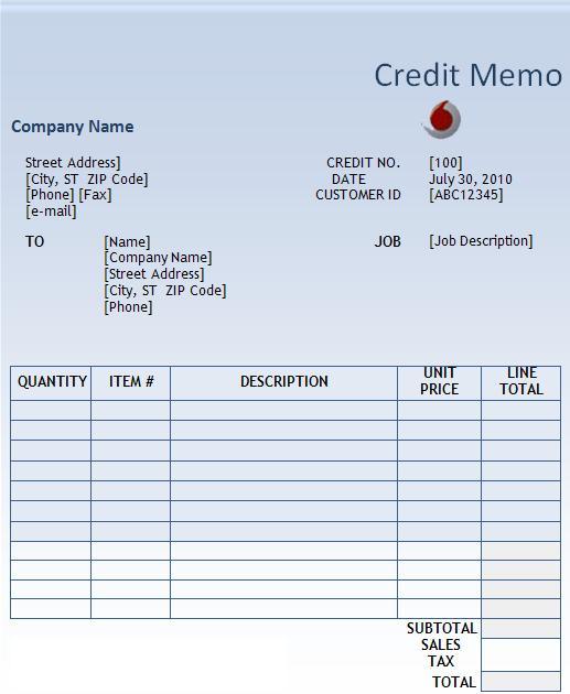 Credit Memo Template | Free Word Templates