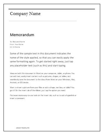memo microsoft word