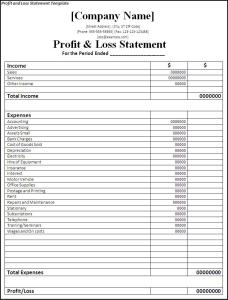 profit loss statement template self employed