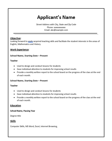 free teacher resume format free word templates