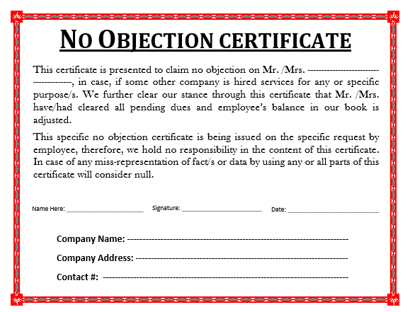 Sample No Objection Certificate | Free Word Templates