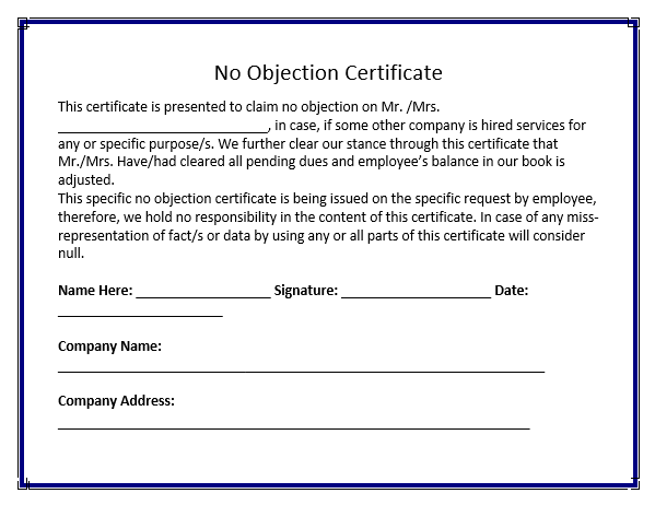 No objection certificate for job 28 images noc letter format for sle no objection certificate free word templates thecheapjerseys Choice Image