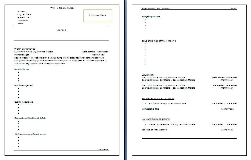 Resume template manufacturing