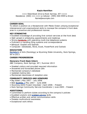 6 Receptionist Resume Templates Free Word Templates