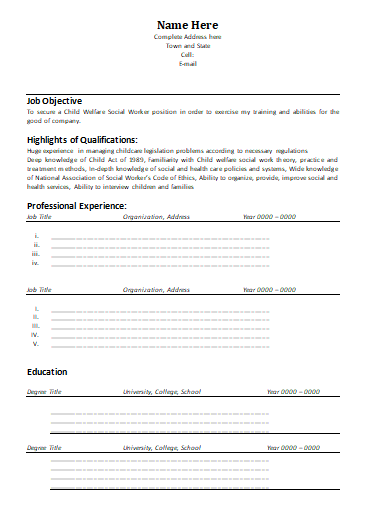 Social Worker Resume Template 1  Social Worker Resume Template