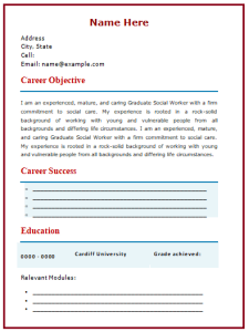 Social Worker Resume Template 4