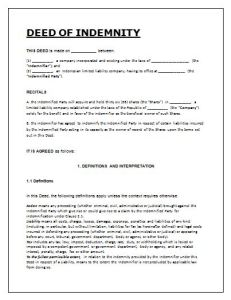 deed of indemnity agreement template free word templates