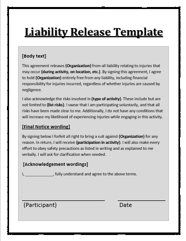 Liability waiver template free word templates for Release from liability form template