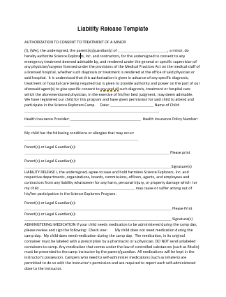 Liability Release Template  Liability Contract Template