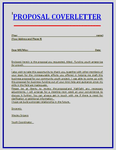 Proposal cover letter template