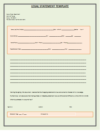 Legal Statement Template | Free Word Templates