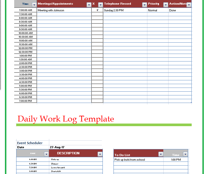 Excellent daily work log template images resume ideas namanasa printable daily work log template free word templates pronofoot35fo Gallery