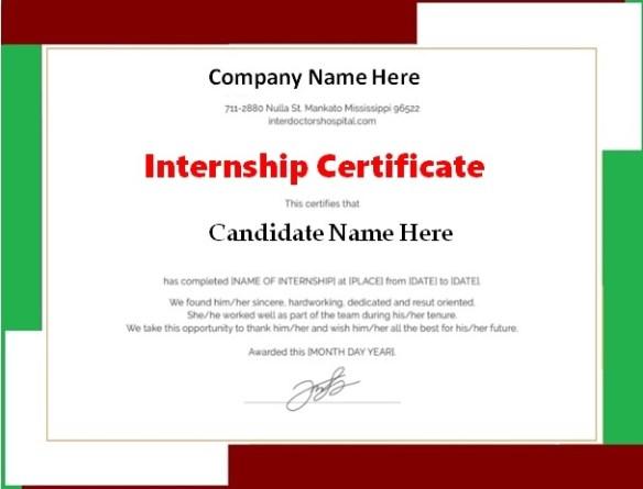 Internship Certificate Template 1
