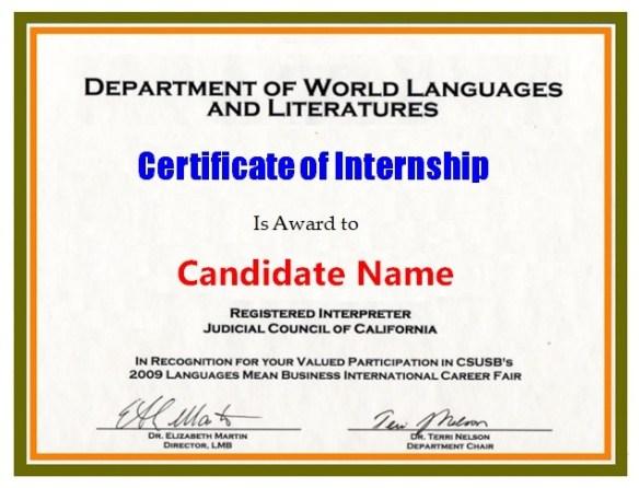 Internship Certificate Template 2