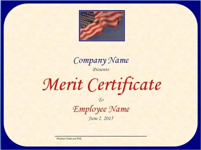 Merit Certificate Template - Excel Xlts