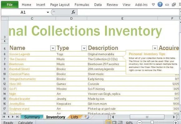 Excel Inventory List Template. Complete Inventory Listing For Your