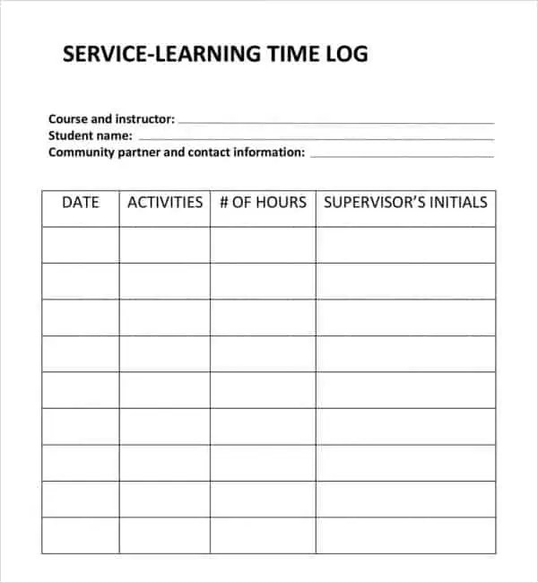 3 excel service log templates