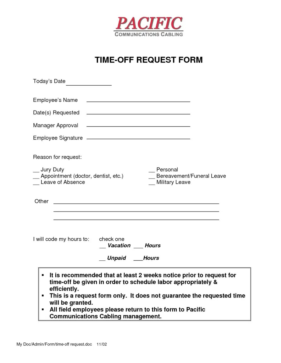 4 time off request form templates excel xlts