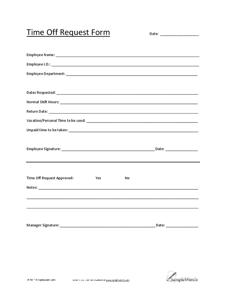 4 Time Off Request Form Templates - Excel xlts