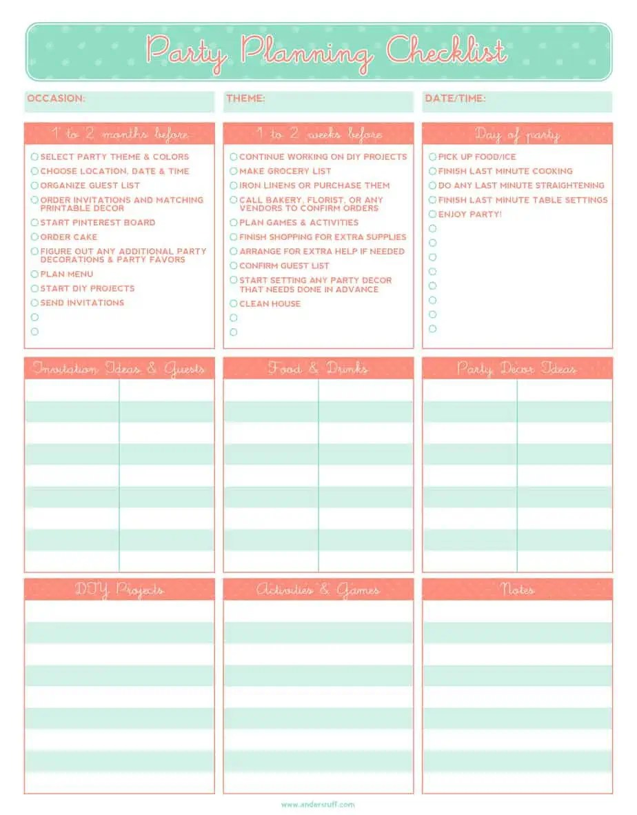 5 Party Planning Templates