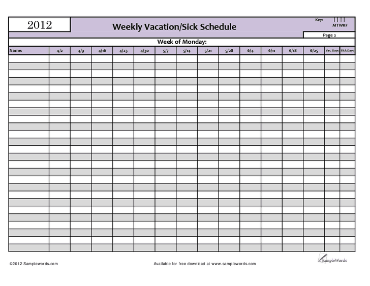 vacation schedule template 1
