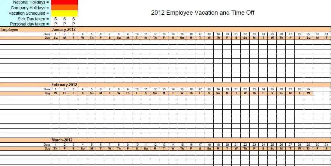 4 Vacation Schedule Templates - Excel xlts