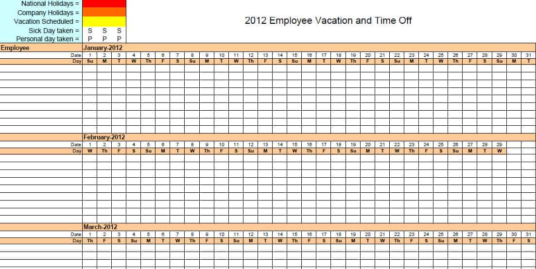 Vacation Schedule Template In Word, Excel, Apple U2026