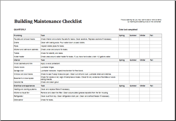 4 Facility Maintenance Checklist Templates Excel Xlts