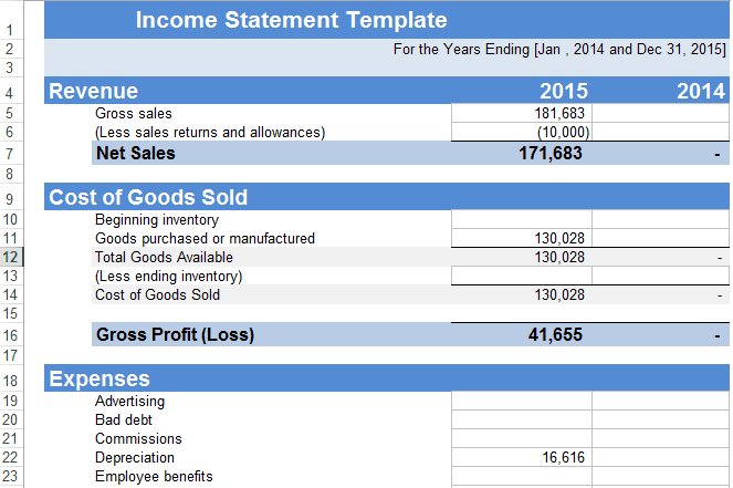 sample profit and loss statement excel