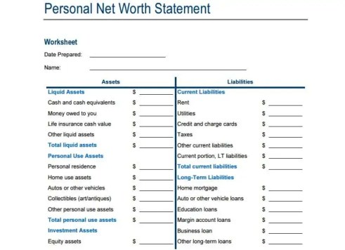 personal net worth statement canada immigration