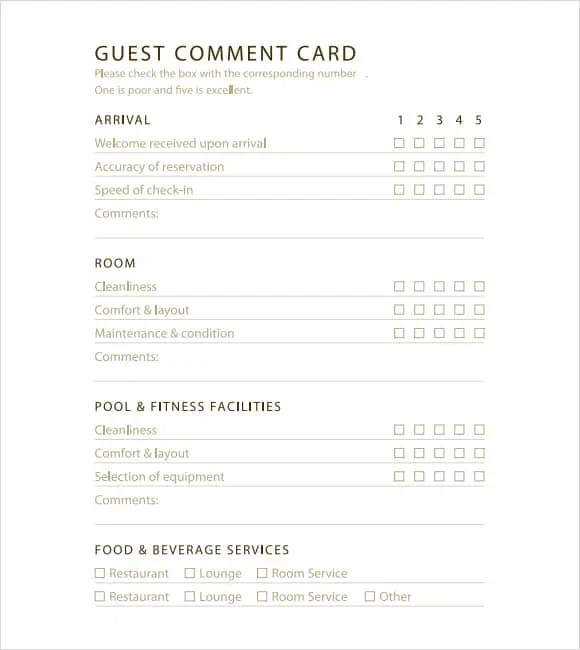 5 Restaurant Comment Card Templates - Excel Xlts
