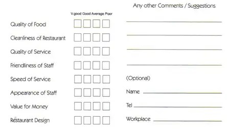 5 Restaurant Comment Card Templates  Customer Comment Card Template