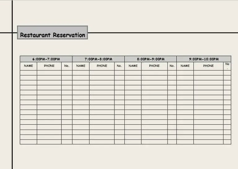 reservation card template