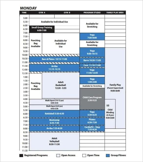 4 tv programs schedule templates excel xlts