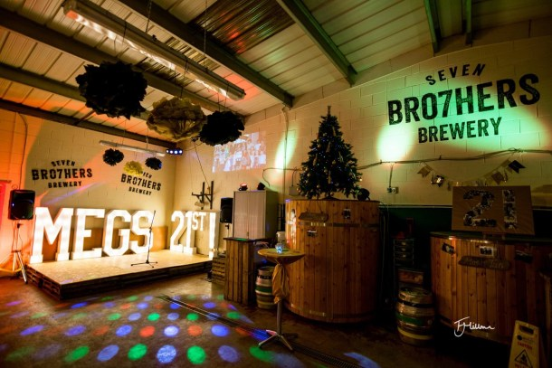 Illuminated Letters decorating the stage of a micro brewery party