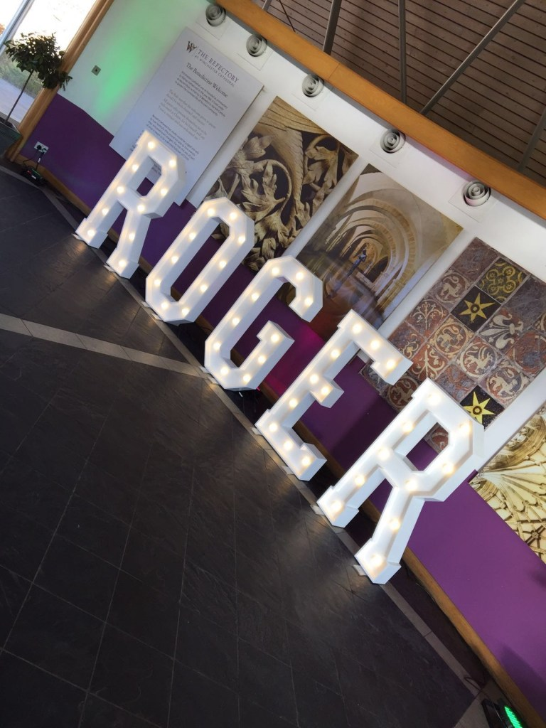 ROGER letter lights at corporate event