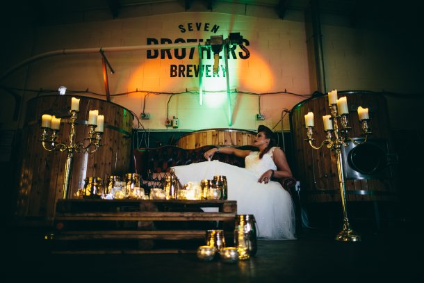 Bride rocking the Seven Bro7hers Micro Brewery