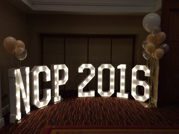 NCP 2016 illuminated signage hired for a corporate event