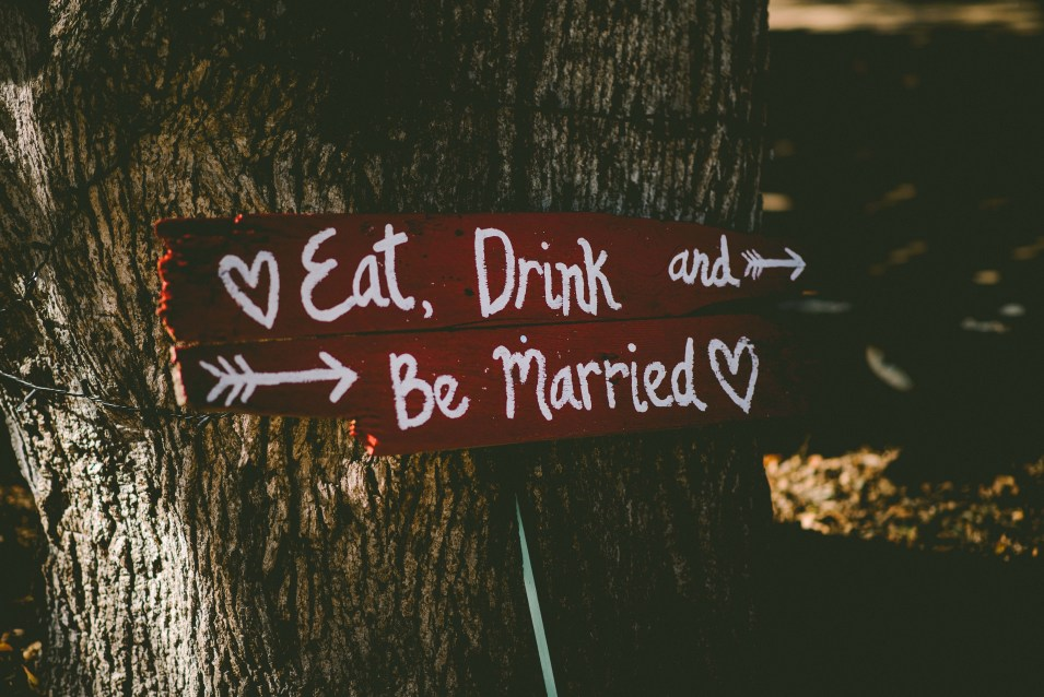 Eat, Drink and Be Married Wooden Sign