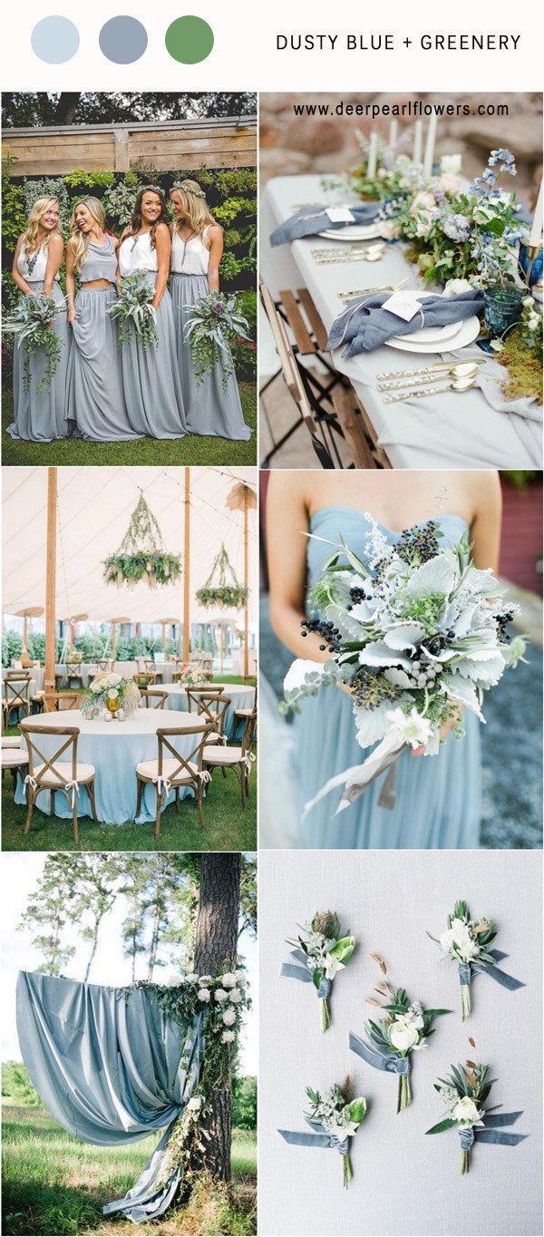 Dusty Blue and Green Wedding Colour Palette