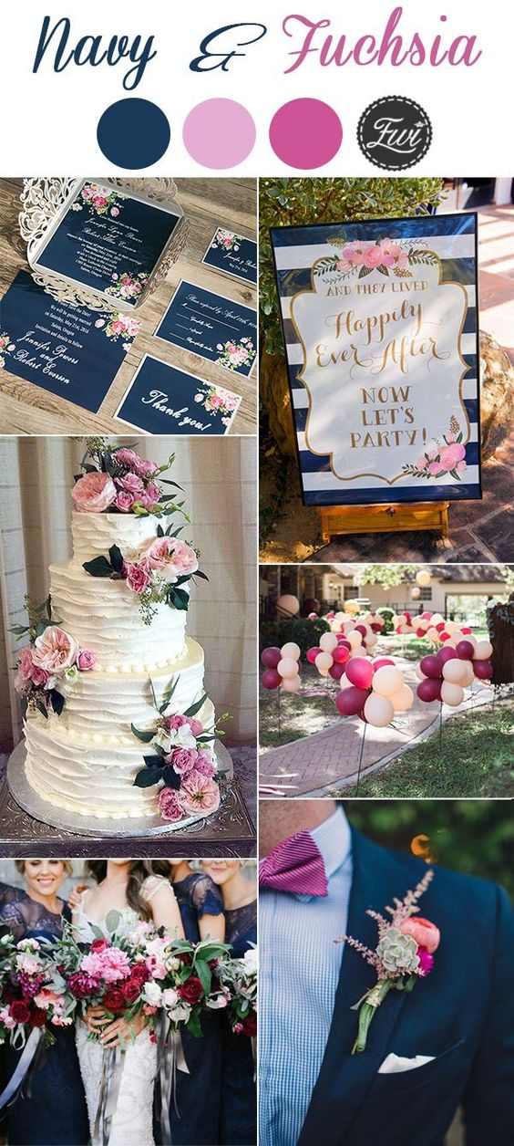 Navy and Fuchsia Pink Wedding Colour Palette