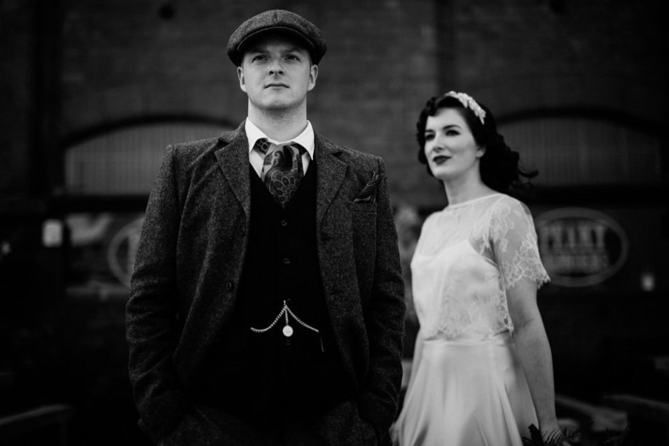 Peaky Blinders Wedding Shoot with bride and groom