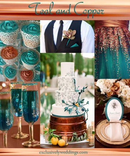 Copper and Teal colour inspiration for Autumnal Weddings 2018