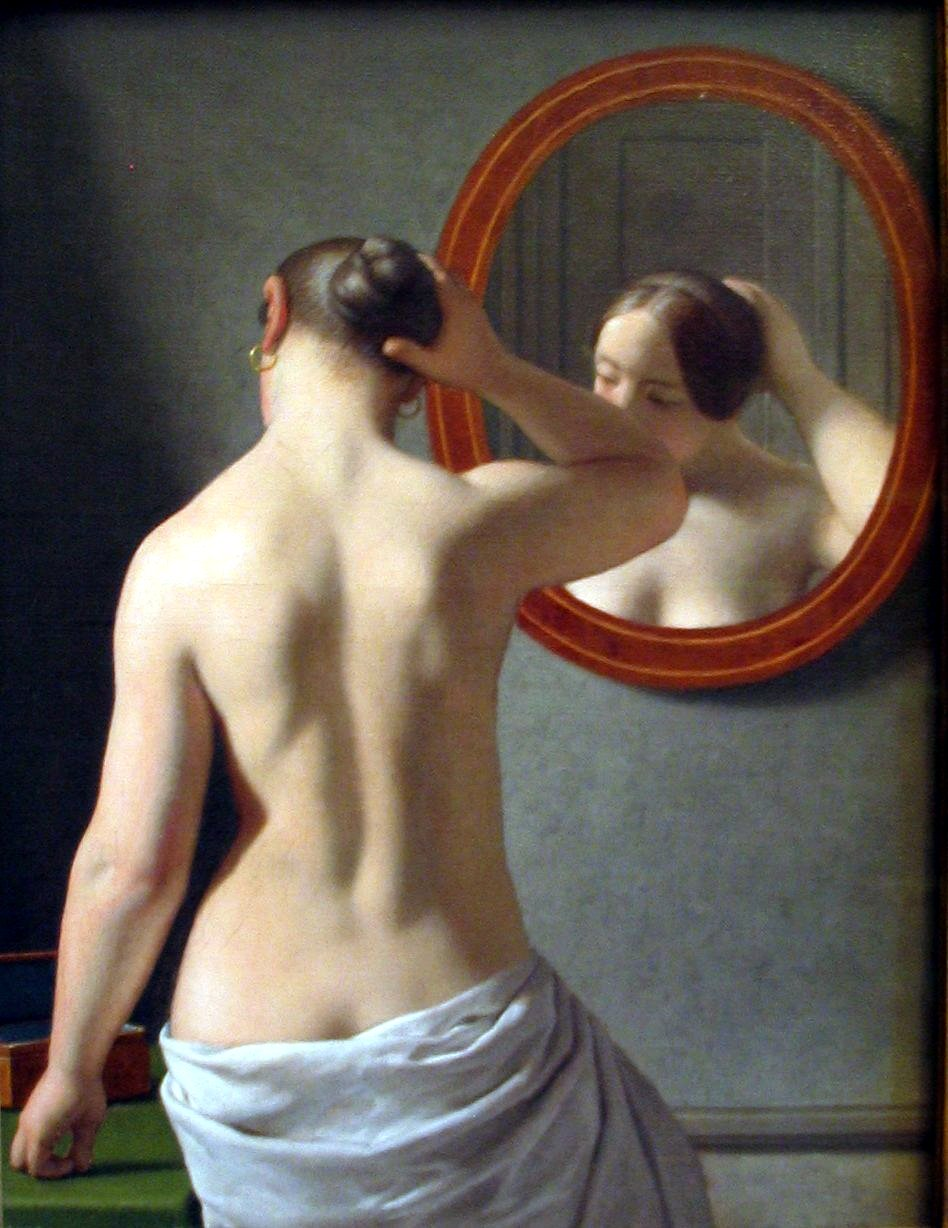 """Morning Toilet"" - Painting of woman by Christoffer Wilhelm Eckersberg"