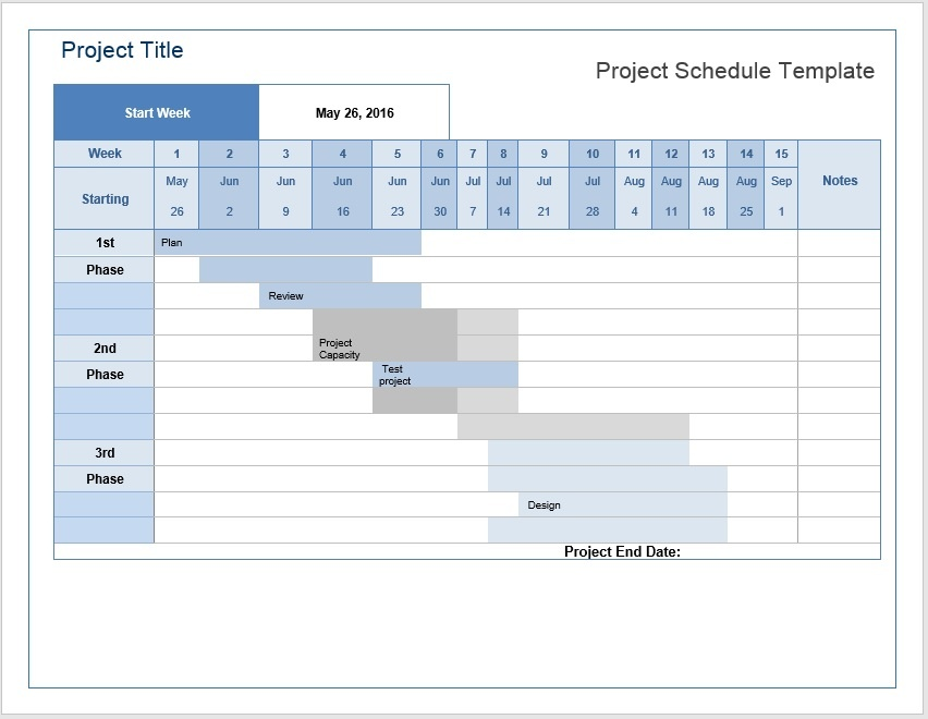 Project Schedule Templates Word Templates For Free Download