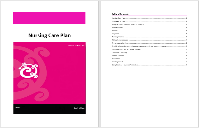 Nursing Care Plan Template Word Templates For Free Download